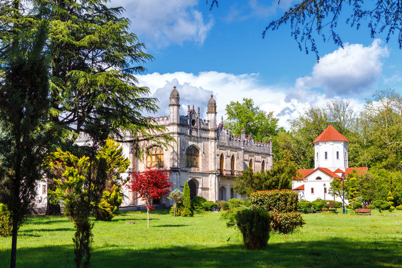 Dadiani Palaces Historical and Architectural Museum and church located inside a park in Zugdidi, Georgia. Dadiani Palaces Historical and Architectural Museum stock images