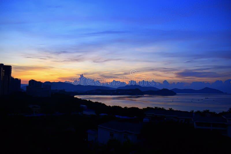 Dadonghai Bay, Sanya, China, Hainan morning at dawn. Dadonghai Bay, Sanya China Hainan morning royalty free stock photo