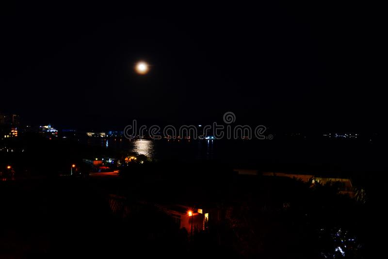 Dadonghai Bay, Sanya, China, Hainan night of the full moon. Mid-autumn festival in China. Moon cake festival stock photos