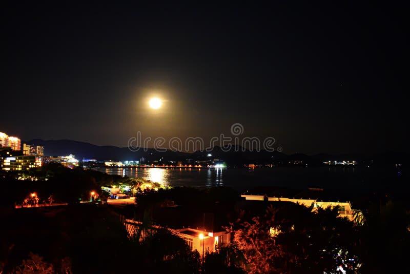 Dadonghai Bay, Sanya, China, Hainan night of the full moon. Mid-autumn festival in China. Moon cake festival stock photography