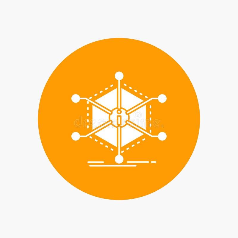 Dados, ajuda, informação, informação, ícone branco do Glyph dos recursos no círculo Ilustra??o do bot?o do vetor ilustração stock
