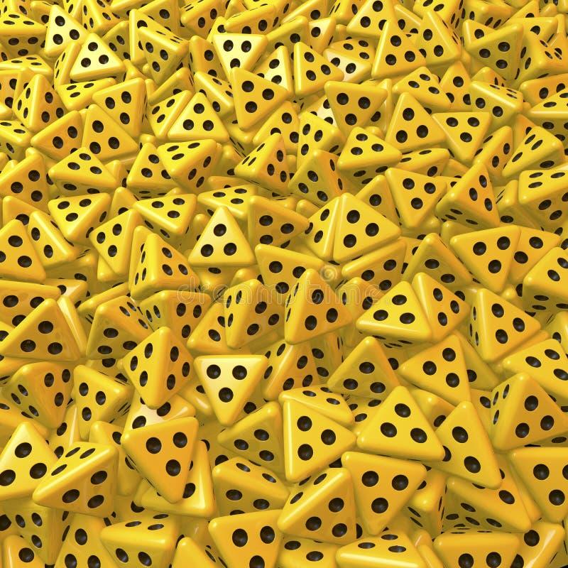Dados amarillos del tetraedro con tres ojos morados stock de ilustración