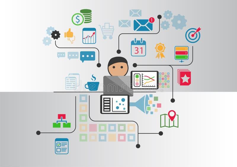 Dados, analítica e conceito grandes da inteligência empresarial A pessoa dos desenhos animados conectou aos dados e à informação  ilustração royalty free