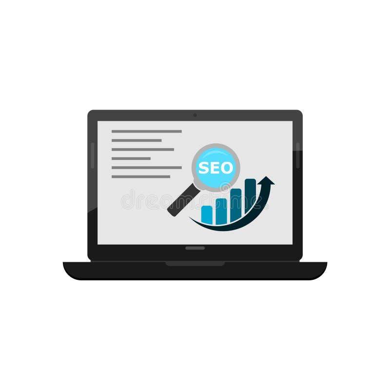 Dados analíticos, planilha no portátil, auditoria de SEO da análise da finança do negócio com cartas dos gráficos ilustração do vetor