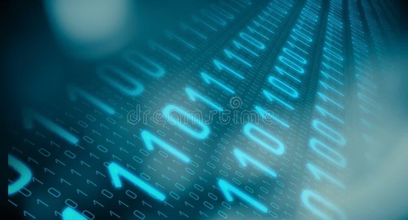 Dados binários do ataque do hacker do sistema informático fotografia de stock