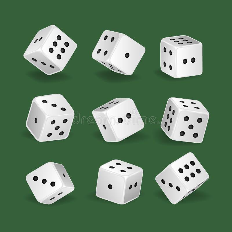 Dados blancos realistas determinados Juego, casino, dado Aficiones, empleos profesionales libre illustration