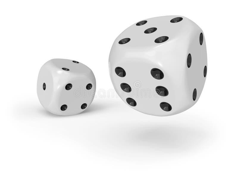 Dados brancos com pontos pretos ilustração stock
