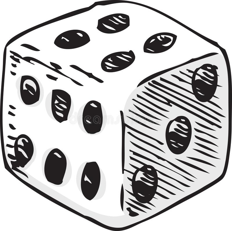 Dados brancos com pontos pretos ilustração do vetor