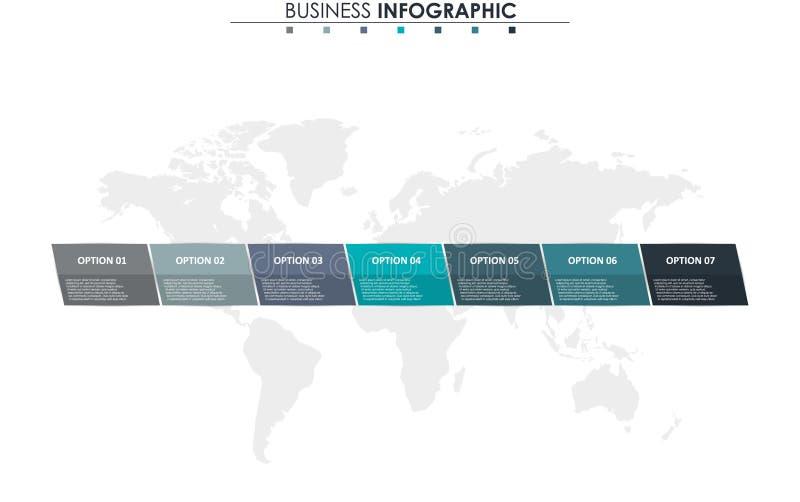 Dados comerciais, carta Elementos abstratos do gráfico, do diagrama com 7 etapas, da estratégia, das opções, das peças ou dos pro ilustração royalty free