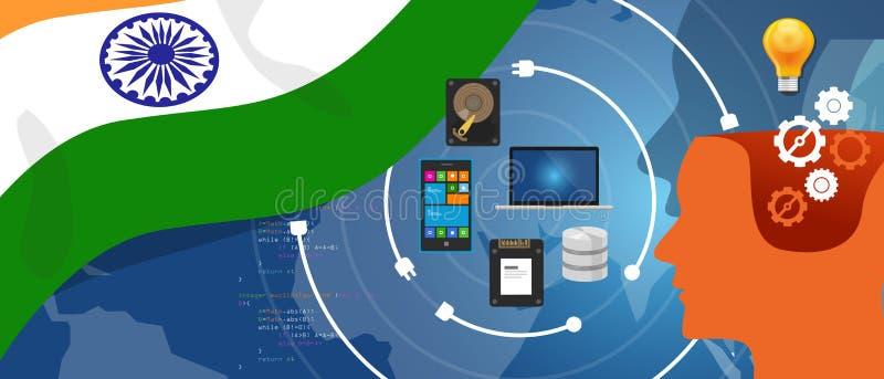 Dados comerciais de conexão da infraestrutura digital da tecnologia da informação da Índia a TI através do Internet usando o comp ilustração stock