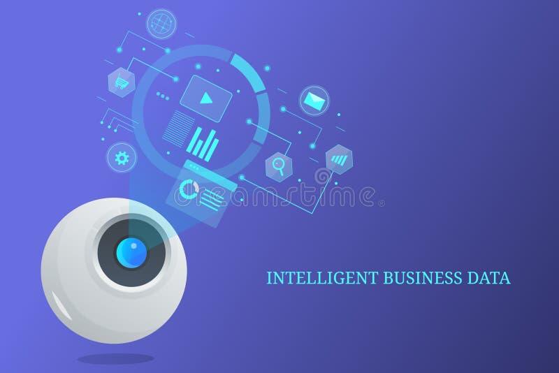 Dados comerciais inteligentes, robô que analisa a informação, ciência futura dos dados, inteligência artificial ilustração royalty free