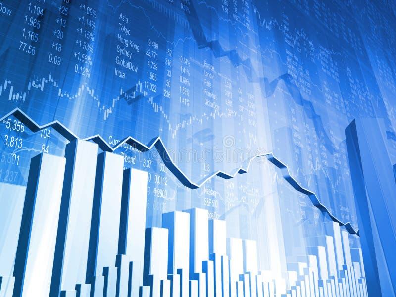 Dados conservados em estoque com gráfico do mercado 3D