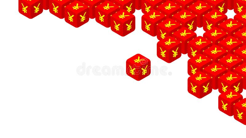 dados 3D isométricos com CNY de China do símbolo de moeda, guerra comercial e ilustração do projeto de conceito da crise do impos ilustração do vetor
