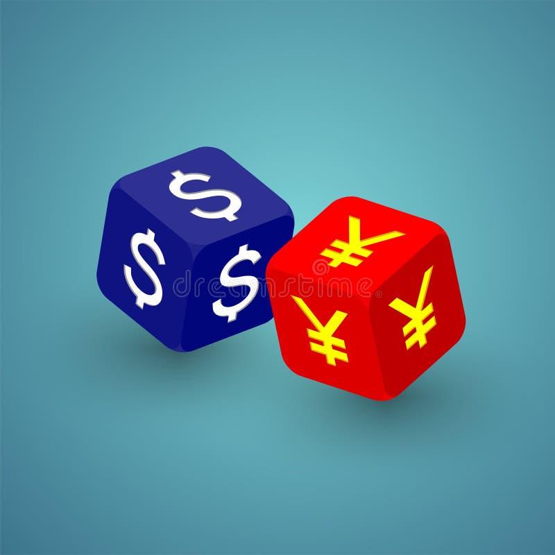 dados 3D isométricos com símbolo de moeda ilustração do projeto de conceito da crise de América e de China, de guerra comercial e ilustração stock
