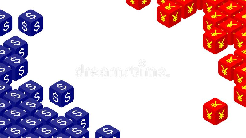 dados 3D isométricos com símbolo de moeda ilustração do projeto de conceito da crise de América e de China, de guerra comercial e ilustração do vetor