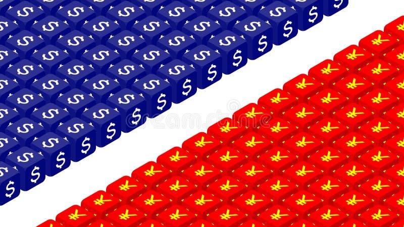 dados 3D isométricos com símbolo de moeda ilustração do projeto de conceito da crise de América e de China, de guerra comercial e ilustração royalty free