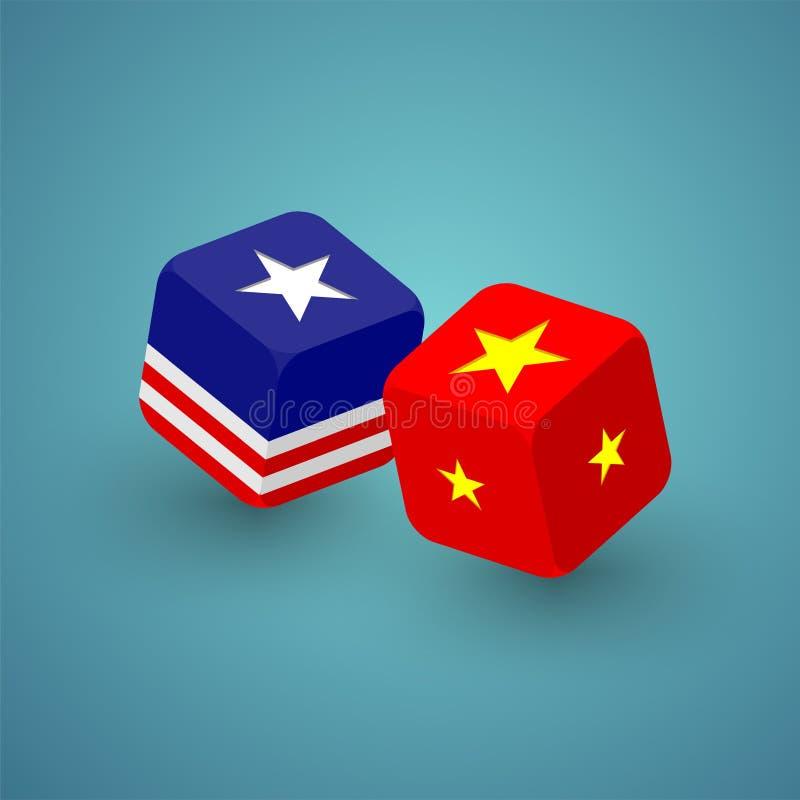 dados 3D isométricos com teste padrão da bandeira de América e de China, guerra comercial e ilustração do projeto de conceito da  ilustração do vetor