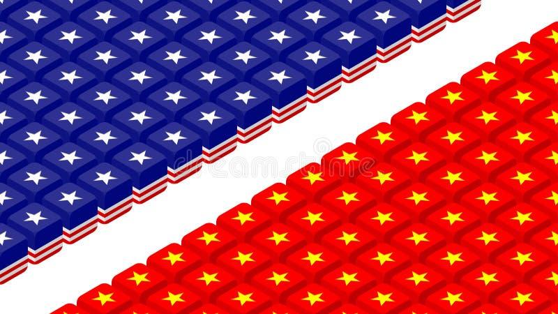 dados 3D isométricos com teste padrão da bandeira de América e de China, guerra comercial e ilustração do projeto de conceito da  ilustração stock