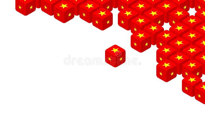 dados 3D isométricos com teste padrão da bandeira de China, guerra comercial e ilustração do projeto de conceito da crise do impo ilustração royalty free