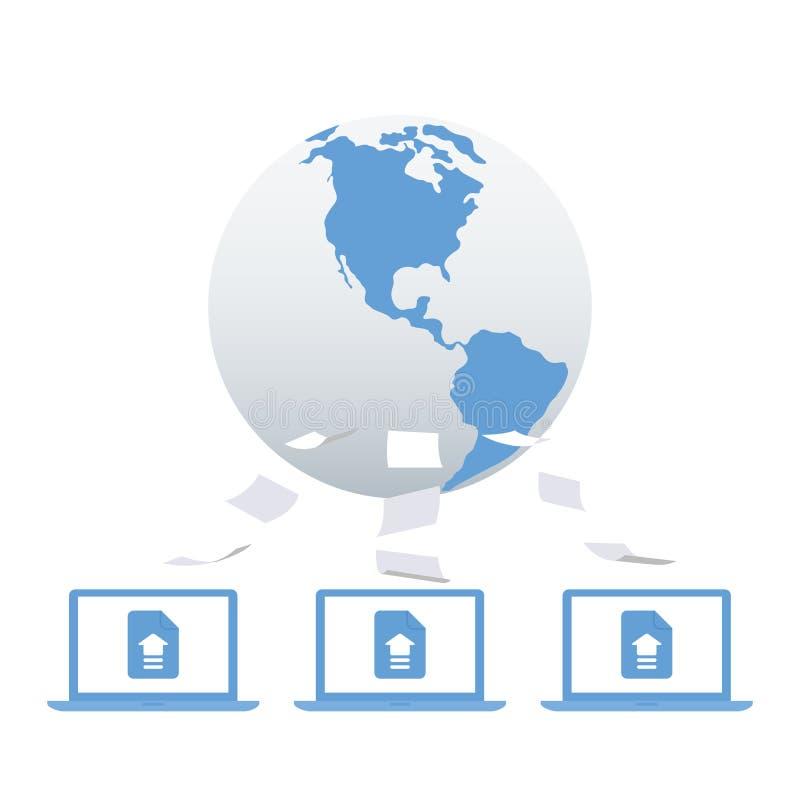 Dados da carga do computador ao Internet ou ao armazenamento da nuvem Enviando a imagem, texto, email Processo de compartilhar ar ilustração stock