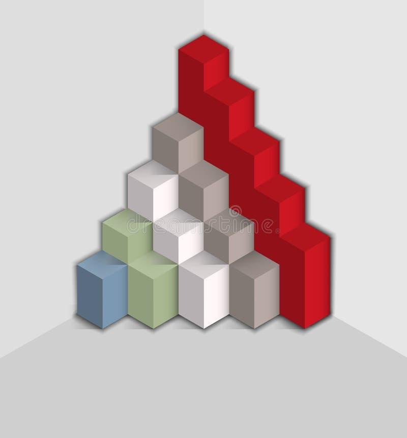 Dados da pirâmide para demonstrar indicadores ilustração royalty free