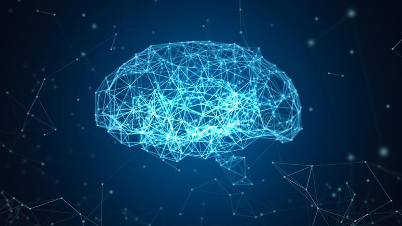 Dados de Digitas e conexão de rede do cérebro humano isolada no fundo preto sob a forma da inteligência artificial para ilustração royalty free