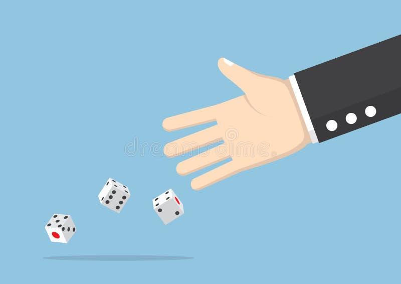 Dados de jogo da mão do homem de negócios ilustração stock