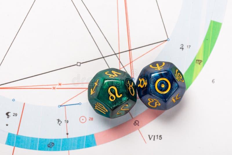 Dados de la astrolog?a con el s?mbolo del zodiaco de Leo Jul 23 - 22 de agosto y de su cuerpo celeste del acto el Sun imagenes de archivo