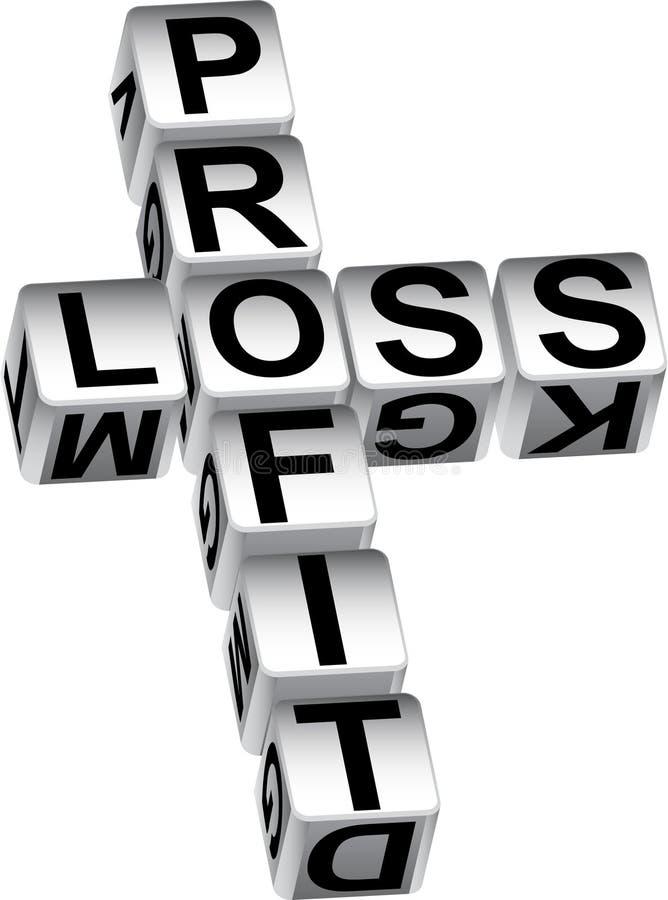 Dados de la pérdida del beneficio stock de ilustración