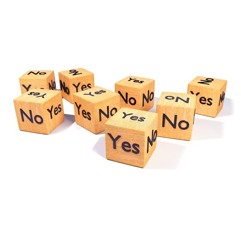 Dados de madeira com Yes e não ilustração royalty free