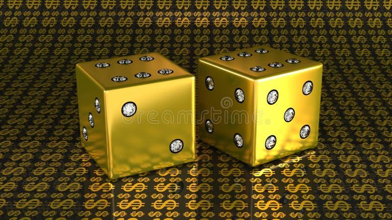 Dados de oro con las gemas sobre fondo de dólar americano ilustración del vector