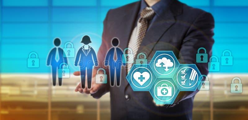 Dados de Securing Digital Healthcare do gerente de base de dados fotografia de stock royalty free