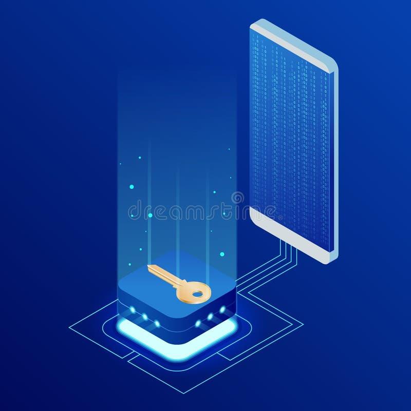 Dados de transferência do fechamento isométrico da segurança do Internet de um smartphone ao conceito do base de dados Cortando o ilustração do vetor