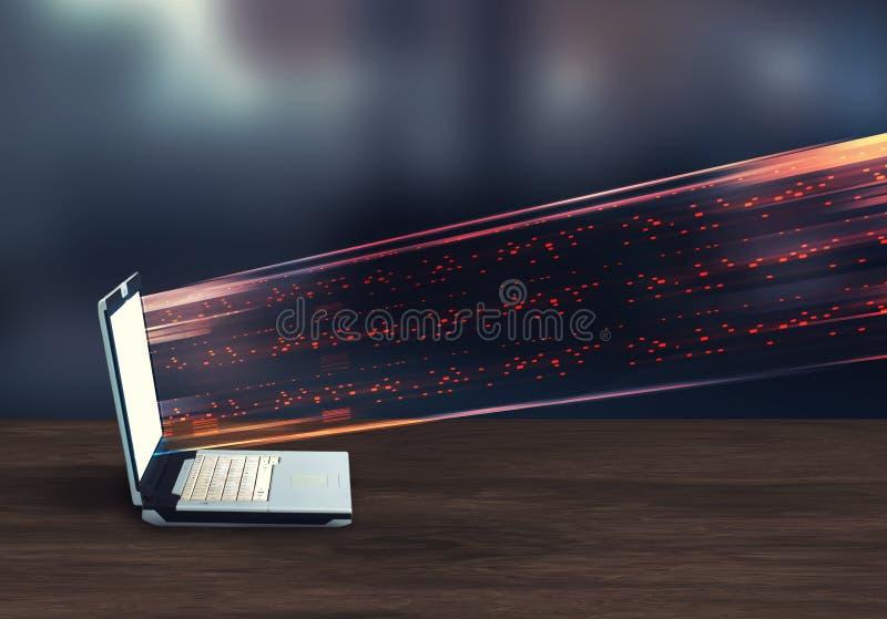 Dados de transferência de dados a um portátil ilustração stock