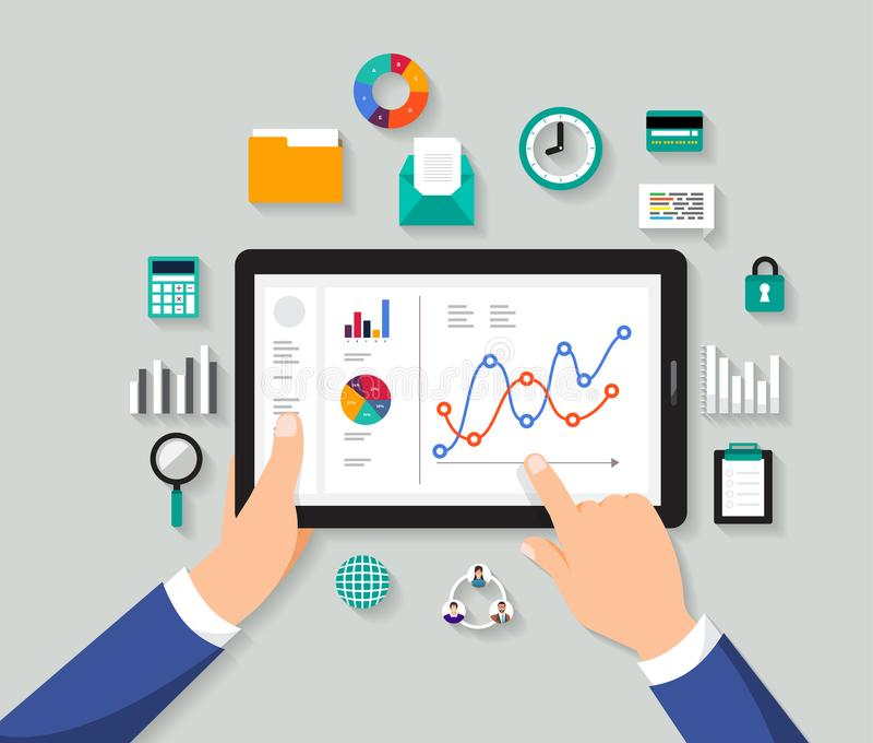 Dados digitais da análise lisa do homem de negócios do conceito de projeto Vetor IL ilustração stock