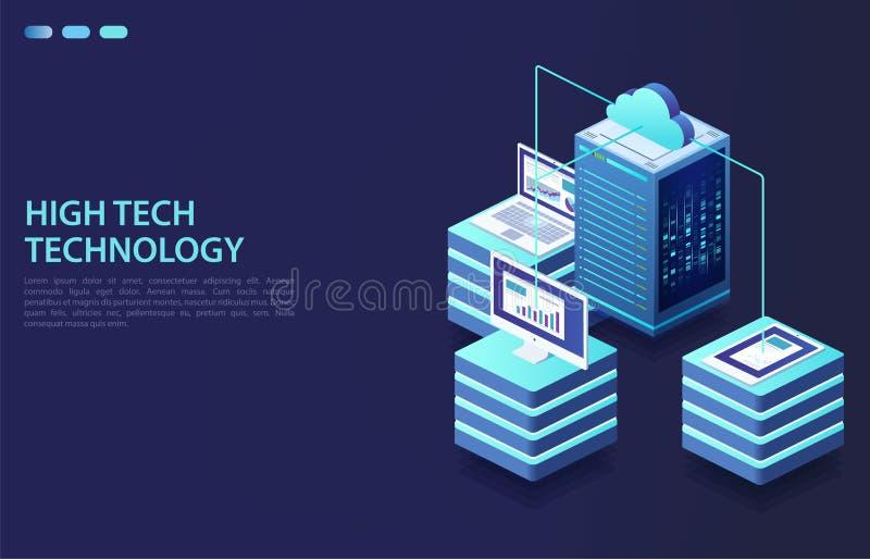 Dados do armazenamento da nuvem e sincronização dos dispositivos ilustração do vetor