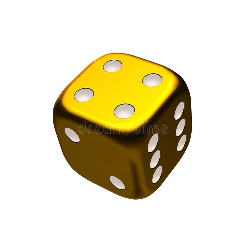 Dados do casino do ouro ilustração do vetor