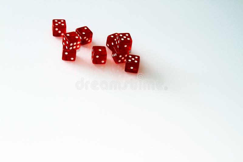Dados do casino isolados no branco jogo isolate foto de stock