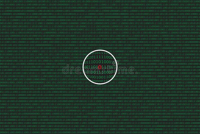 Dados do computador por 0 e por 1 na cor verde no fundo escuro Com lente de aumento e símbolo do erro ilustração do vetor