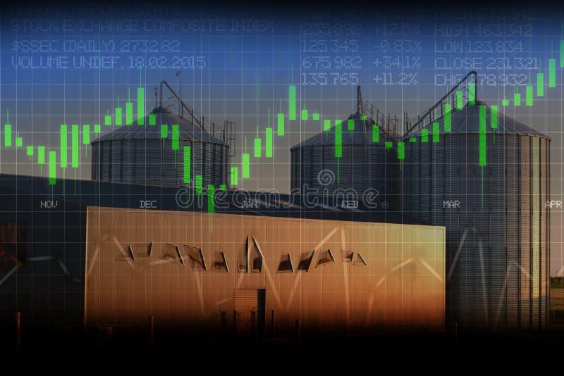 Dados do mercado de valores de ação com silo do armazém como o fundo, analisando a produção, as vendas ou o preço na agricultura foto de stock royalty free