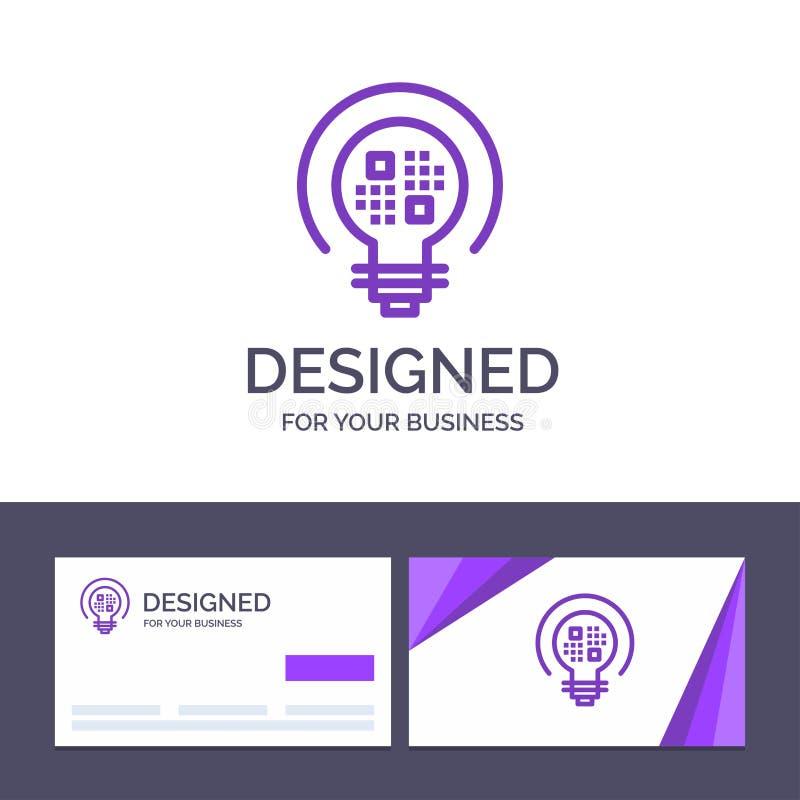Dados do molde criativo do cartão e do logotipo, introspecção, luz, ilustração do vetor do bulbo ilustração royalty free