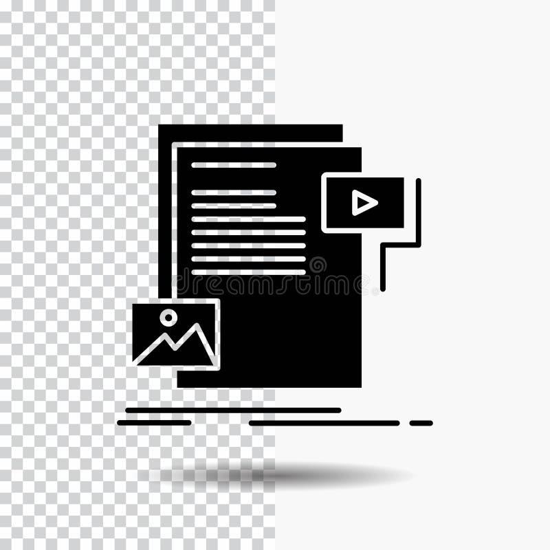 dados, documento, arquivo, meio, ícone do Glyph do Web site no fundo transparente ?cone preto ilustração stock