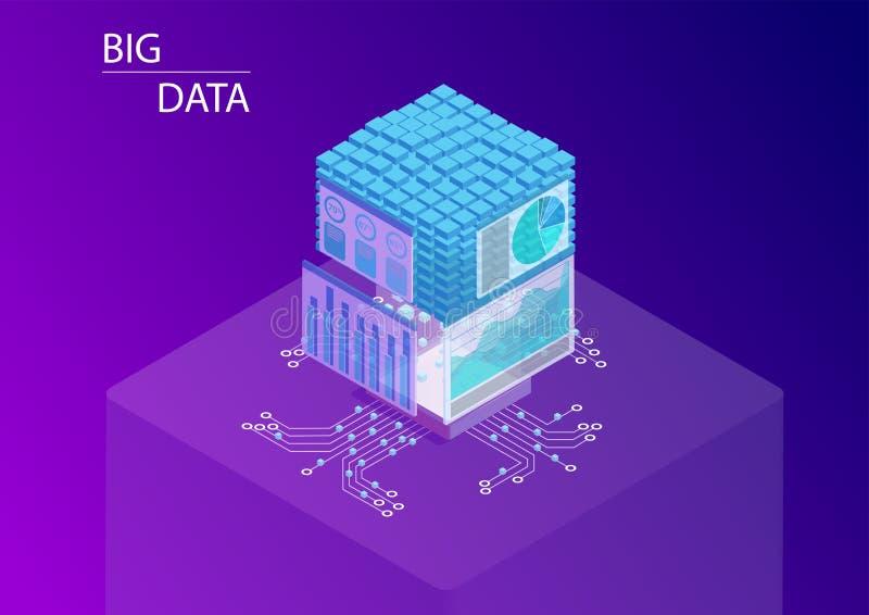 Dados e conceito grandes da analítica com os painéis que indicam o cubo da informação e dos dados ilustração isométrica do vetor  ilustração royalty free