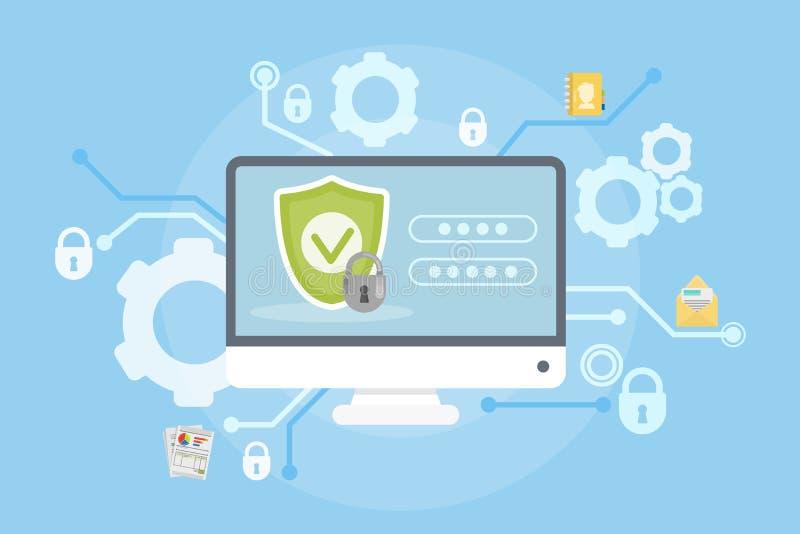 Dados e proteção do computador ilustração royalty free
