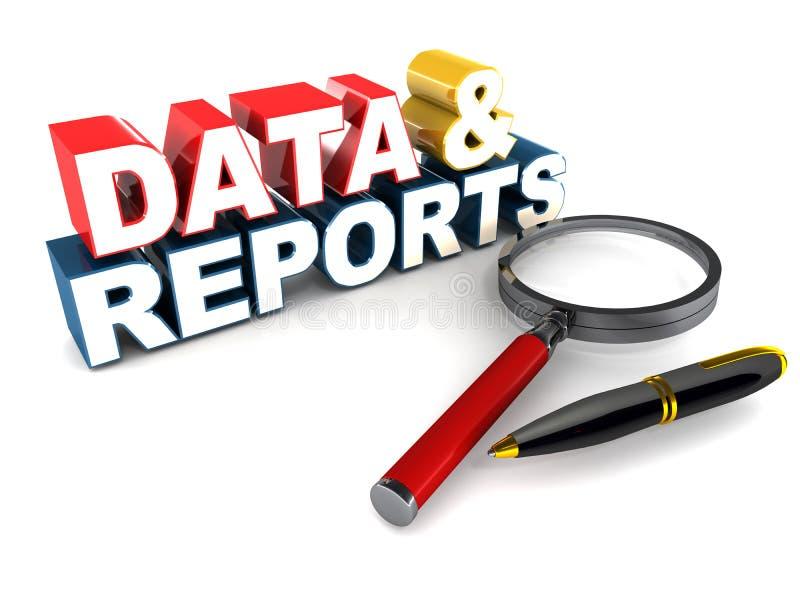 Dados e relatórios ilustração do vetor