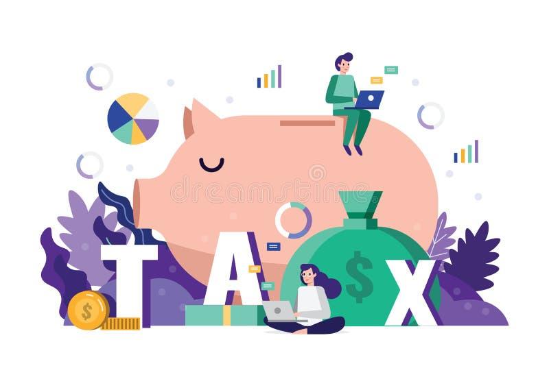 Dados financeiros do imposto da análise e da estratégia da equipe do negócio no conceito do fim do prazo do tempo do imposto ilustração do vetor