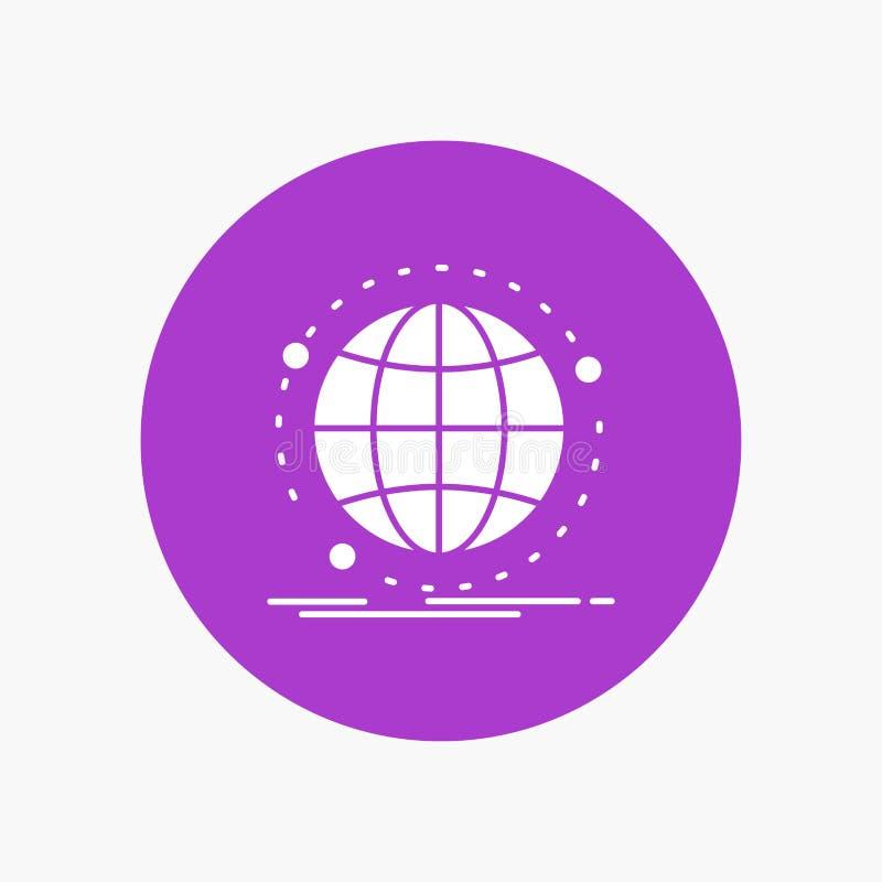Dados, globais, Internet, rede, ícone branco do Glyph da Web no círculo Ilustra??o do bot?o do vetor ilustração do vetor