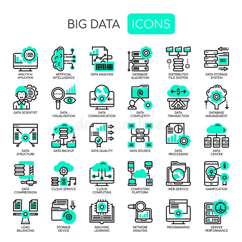 Dados grandes, ícones perfeitos do pixel ilustração royalty free