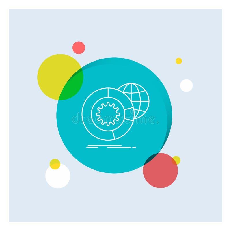 dados, dados grandes, análise, globo, linha branca fundo colorido dos serviços do círculo do ícone ilustração do vetor