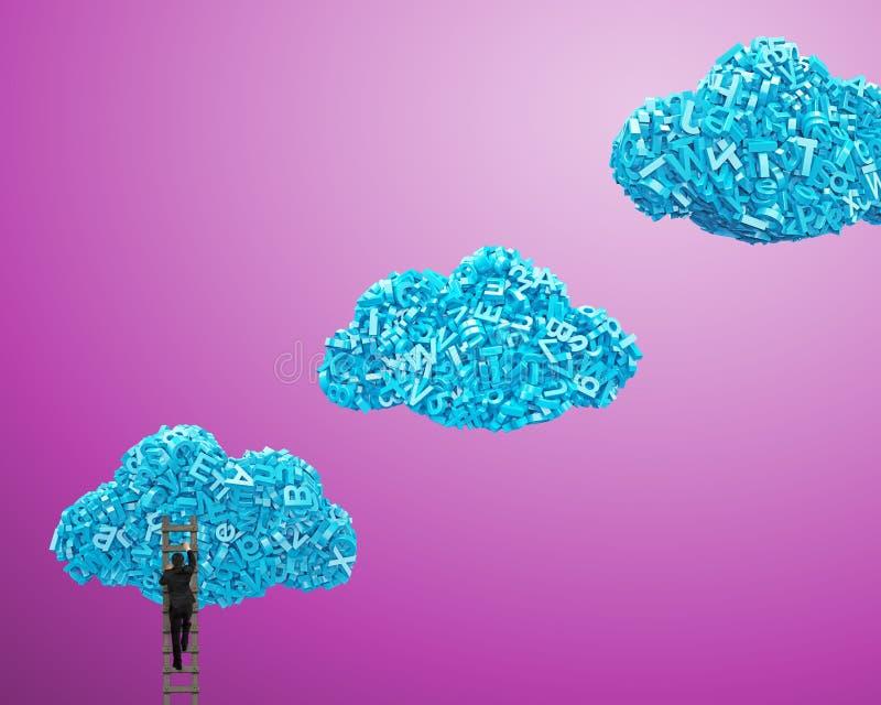 Dados grandes Car?teres azuis na forma da nuvem com escalada do homem de neg?cios imagens de stock
